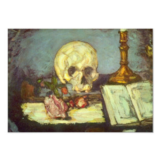 Still Life w Skull, Candle, Book By Paul Cezanne Card