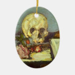 Still Life w Skull, Candle, Book By Paul Cezanne Ceramic Ornament