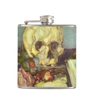 Still Life w Skull, Candle, Book By Paul Cezanne Hip Flask