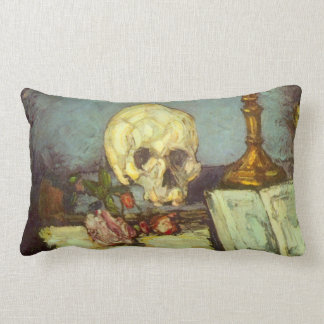 Still Life w Skull, Candle, Book By Paul Cezanne Lumbar Pillow