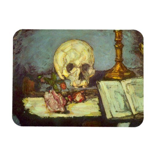 Still Life w Skull, Candle, Book By Paul Cezanne Magnet