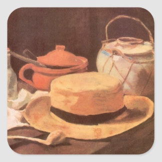 Still Life w Yellow Straw Hat by Vincent van Gogh Square Sticker