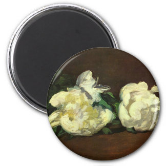 Still life, white peonies - Edouard Manet 2 Inch Round Magnet