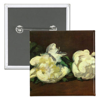 Still life, white peonies - Edouard Manet Button