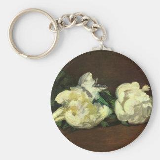 Still life, white peonies - Edouard Manet Keychain