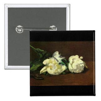 Still life, White Peony by Edouard Manet Pinback Button