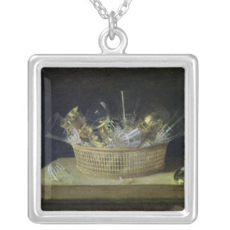 Still Life with a Basket of Glasses, 1644 Silver Plated Necklace