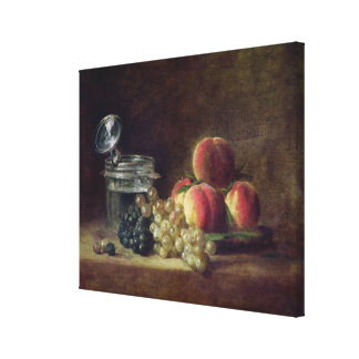 Still Life with a Basket of Peaches Canvas Print