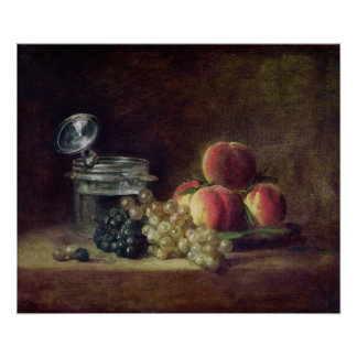 Still Life with a Basket of Peaches Poster