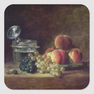 Still Life with a Basket of Peaches Square Sticker