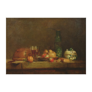 Still Life with a Bottle of Olives, 1760 Canvas Print