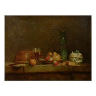 Still Life with a Bottle of Olives, 1760 Poster