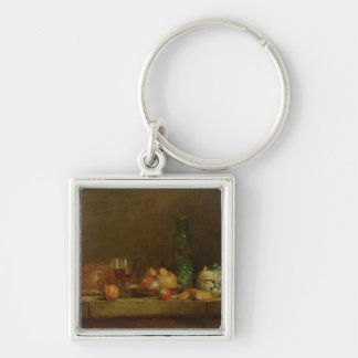 Still Life with a Bottle of Olives, 1760 Silver-Colored Square Keychain