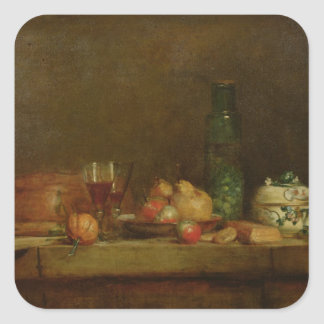 Still Life with a Bottle of Olives, 1760 Square Sticker