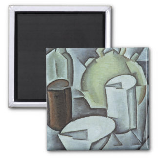 Still Life with a Bottle of Wine and an Earthenwar 2 Inch Square Magnet