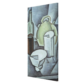 Still Life with a Bottle of Wine and an Earthenwar Canvas Print