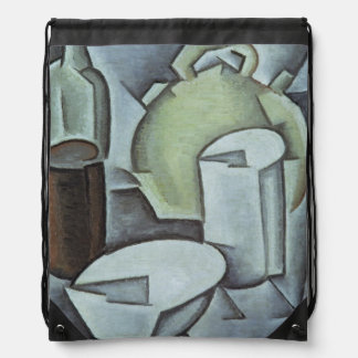 Still Life with a Bottle of Wine and an Earthenwar Drawstring Backpack