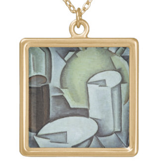 Still Life with a Bottle of Wine and an Earthenwar Square Pendant Necklace