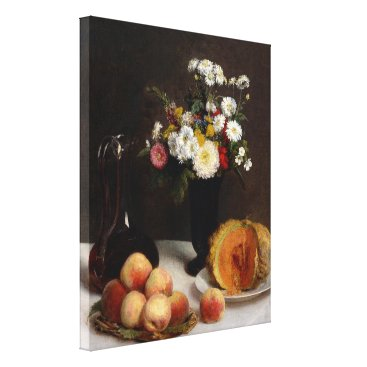 Art Themed Still Life with a Carafe, Flowers and Fruit Canvas Print