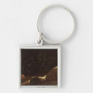 Still Life with a Duck, 1863 Silver-Colored Square Keychain