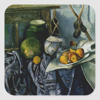 Still Life with a Ginger Jar and Eggplants Square Sticker