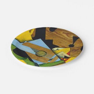 Still Life with a Guitar by Juan Gris 7 Inch Paper Plate