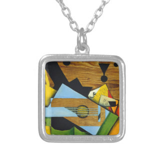 Still Life with a Guitar by Juan Gris Square Pendant Necklace