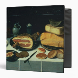 Still Life with a Ham (oil on panel) 3 Ring Binder