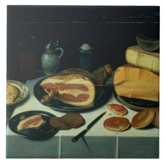 Still Life with a Ham (oil on panel) Tile