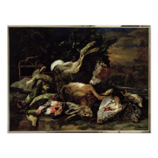 Still Life with a Hare, Song Birds and a Bird Net Poster