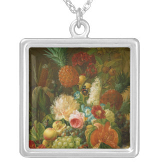Still Life with a Melon and Grapes Silver Plated Necklace