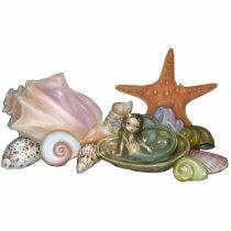 art, fantasy, still life, still lifes, still lives, still, life, stilllife, shell, shells, seashell, sea, seashells, starfish, abalone, sea star, nautical, beach, ocean, conch, conch shell, mermaid, mermaids, nymph, tiny, elf, eye, eyes, big eye, big eyed, jasmine, becket-griffith, becket, griffith, jasmine becket-griffith, jasmin, strangeling, artist, goth, Photo Sculpture with custom graphic design