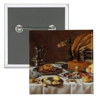 Still Life with a Peacock Pie, 1627 2 Inch Square Button