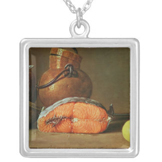 Still Life with a Piece of Salmon Silver Plated Necklace