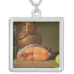 Still Life with a Piece of Salmon Square Pendant Necklace