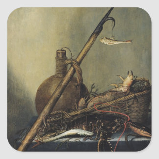 Still Life with a Pitcher and Crustaceans Square Sticker