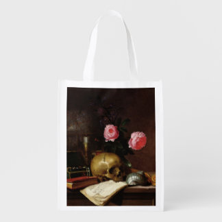 Still Life with a Skull Reusable Grocery Bag