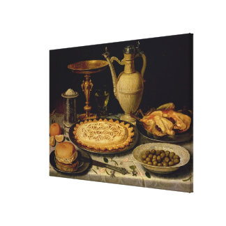 Still life with a tart,chicken, bread and olives canvas print