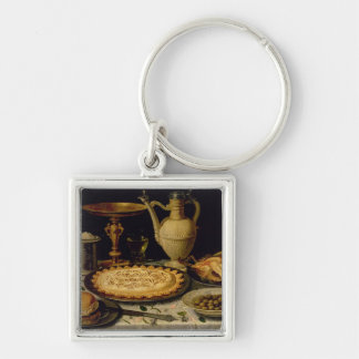 Still life with a tart,chicken, bread and olives keychain