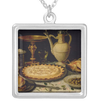 Still life with a tart,chicken, bread and olives silver plated necklace