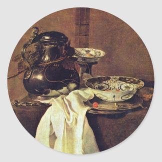 Still Life With A Tin Pot, And Two Porcelain Bowls Classic Round Sticker