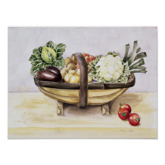 Still life with a trug of vegetables 1996 poster