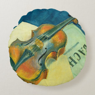 Still Life with a Violin, 1921 Round Pillow
