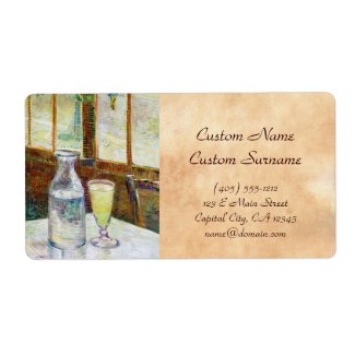 Still Life with Absinthe Vincent van Gogh paint Custom Shipping Label