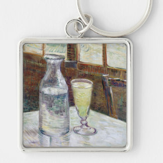 Still Life with Absinthe, Vincent Van Gogh Silver-Colored Square Keychain
