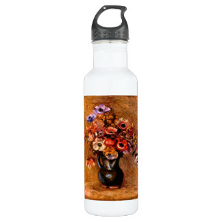 Still life with anemones by Pierre Renoir Water Bottle