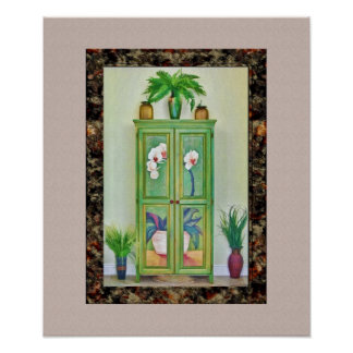 Still Life with Antique Cabinet and Plants Print