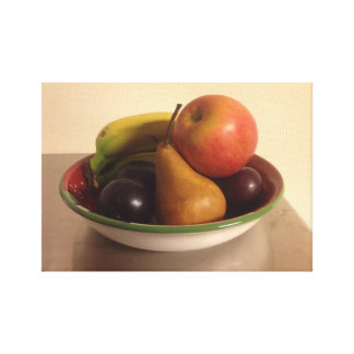 Still Life with Apple, Bananas, Pear and Plums Canvas Print