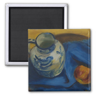 Still Life with Apple & Jug 2 Inch Square Magnet
