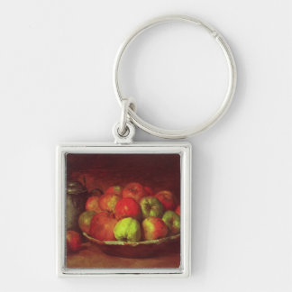 Still Life with Apples and a Pomegranate Silver-Colored Square Keychain